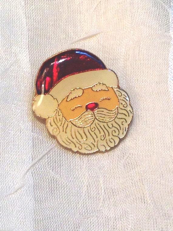 Vintage santa claus tie tack pin or brooch enamel s