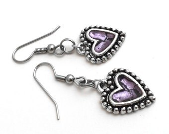 Light Purple Heart Earrings, Silver Dangle, Love Jewelry, Anniversary Gift for Her, Lavender