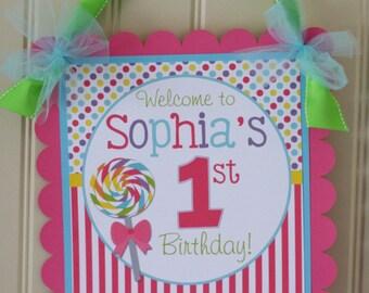 Candy Sweet Shoppe Party Door Sign, Sweet Shoppe Door Decoration
