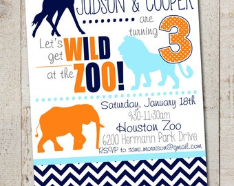 Zoo Party Invitation // Zoo Animals, Jungle Animals, Wild Animals Birthday