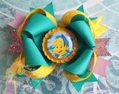 Little Mermaid hair bow Flounder hair bow princess Ariel Disney headband over the top boutique hair clip