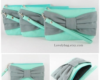 SUPER SALE - Set of 5 Mint with Gray Bow Clutches - Bridal Clutches, Bridesmaid Wristlet, Wedding Gift, Zipper Pouch - Made To Order