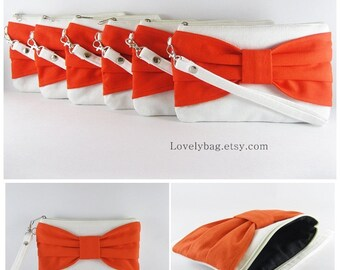 SUPER SALE - Set of 10 Wedding Clutches, Bridesmaids Clutches / Ivory with Orange Bow Clutches - Made To Order
