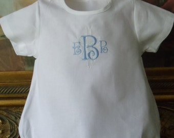 Personlized Monogram Classic Cotton Baby Romper For a Boy or Girl for Baby's Christening, Dedication, or Easter