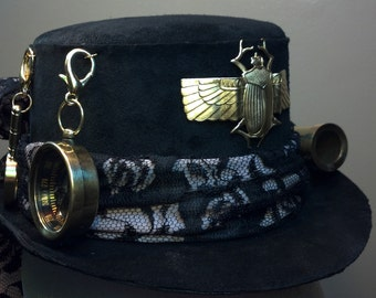 Steampunk Explorer Large Mini Top Hat In Black Suede Leather With Functional Brass Explorer Gear