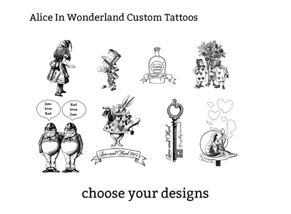 Alice in wonderland customisable temporary tattoos by for Bj custom designs