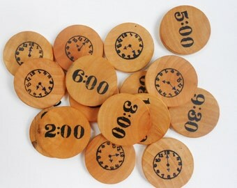 Kids telling time wood matching clock game for learning