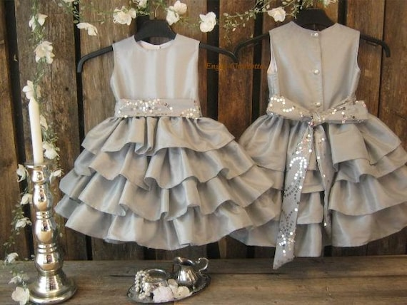 Silver flower girl dress. Grey girls ruffle dress. Winter wedding flower girl dress. Toddler special occasion. Girls taffeta party dress