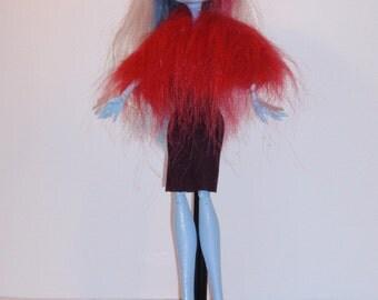 Handmade M.H.dolls dress,bolero faux fur- Handmade M.H.dolls Clothes
