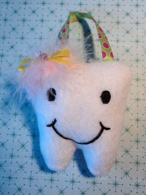 Cute Tooth Pillow : Items similar to Super Cute Girls Tooth Fairy Pillow- Green And Pink Happy Little Tooth Ornament ...