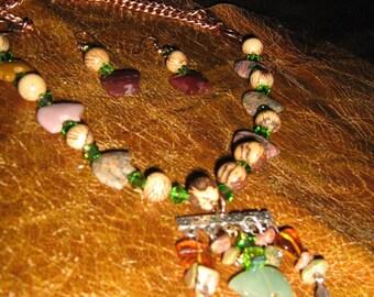 Totem Spirit Bear Gemstone Choker,Jewelry set, Custom made with Amber,Crystal,Acai Beads,unikite beads and copper tone metal feather charms