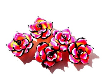 5 Fimo Beads Fimo Rose Beads Polymer Clay Beads Pink Yellow Rose Flower 25 mm Rose Fimo Beads Supplies