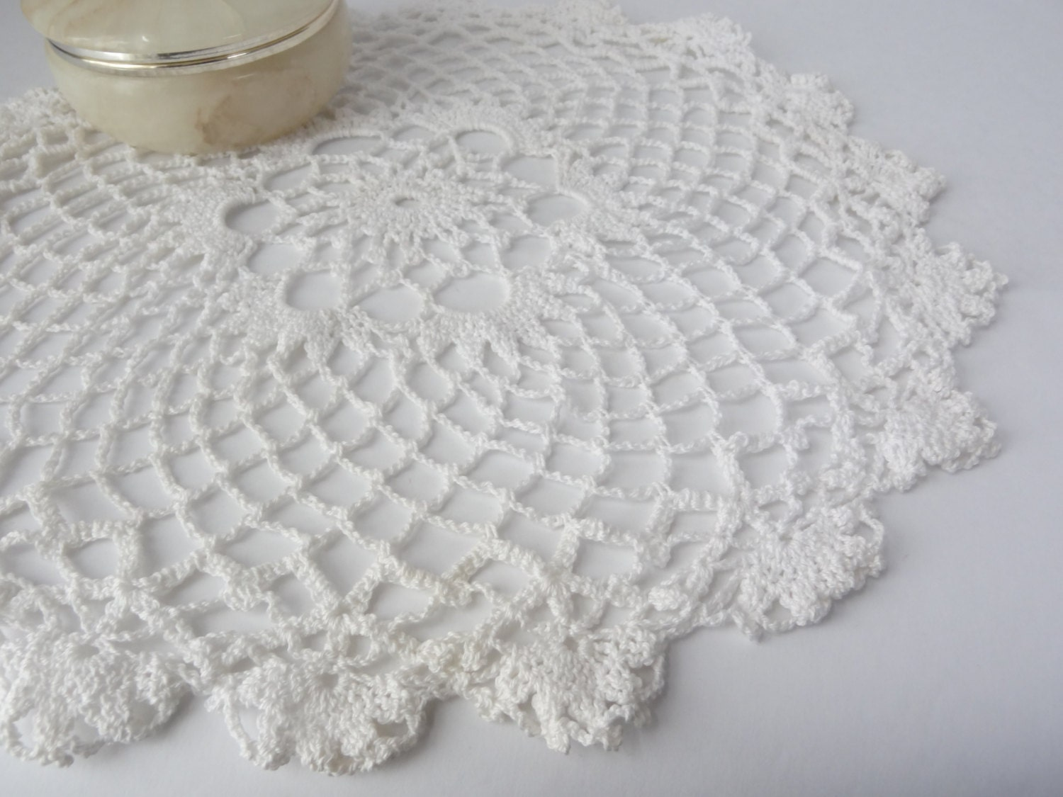 Free Crochet Patterns Round Table Toppers : crochet doilie round white table topper doily by ...