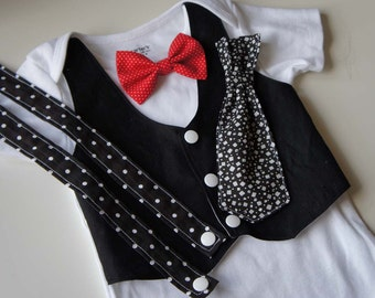 Changeable-Tuxedos And Suspenders Baby Bodysuit with Bow Tie and Tie-set of 5