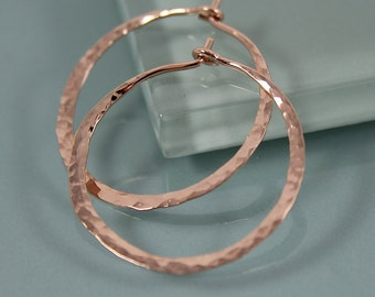 "Hoops Medium 1"" Rose Gold Filled Hammered Texture Hoop Earrings"