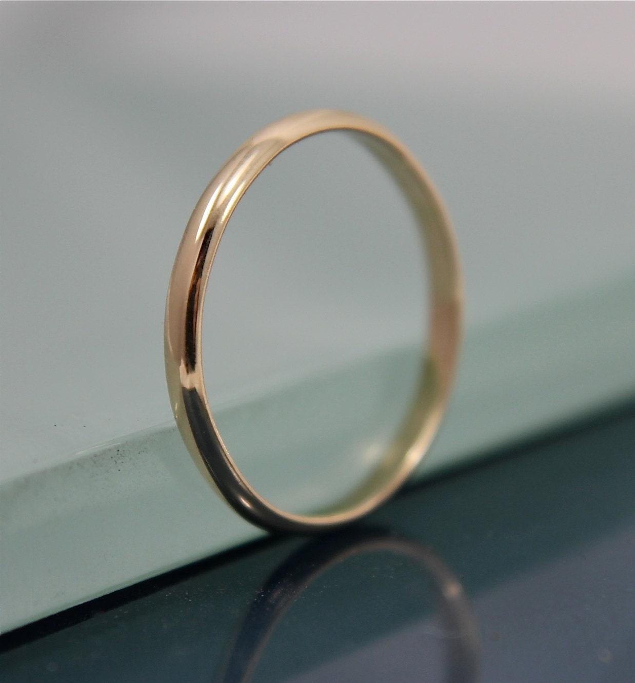 14k Yellow Gold High Polished 2mm Traditional Milgrain: 14k Wedding Band Half Round Solid Gold 2mm X 1mm Stacking Ring