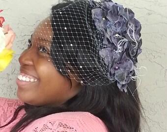 Gray flower Wedding fascinator, grey birdcage veil, crystal birdcage, Ostrich feather, Blusher Veil, Charcoal, Short Veil, flower crown, K01