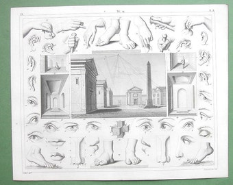 PERSPECTIVE & Anatomy fort Artists Drawing Hands Eyes Legs- 1844 SUPERB Antique Print