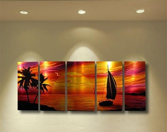 Abstract metal wall art painting tropical beach  scene modern contemporary decor sculpture Sailboat sunset by Robert Hawk