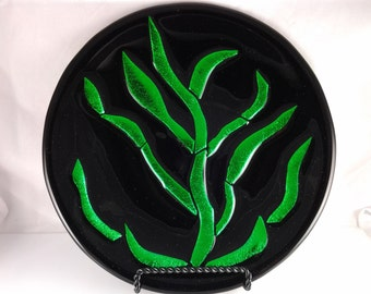 Fused Glass Art, Dichroic Glass Dish, Emerald Green Dichroic Decorative Plate - 004
