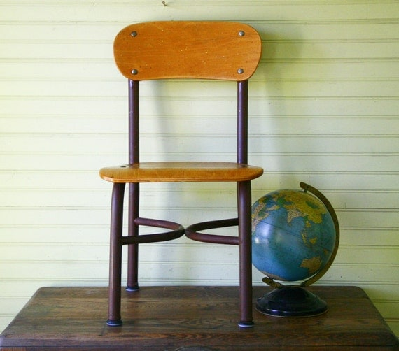 Vintage Child s School Classroom Desk Chair Wood and Metal