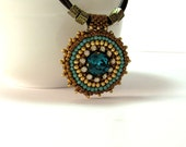 Boho Chic Necklace. Turquoise Swarovski crystal. Brown leather cord. leather necklace. Embroidered pendant.