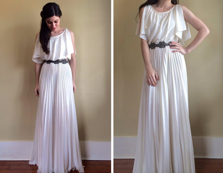 Vintage 70 39 s greek goddess wedding dress with pleated maxi for Greek goddess wedding dresses