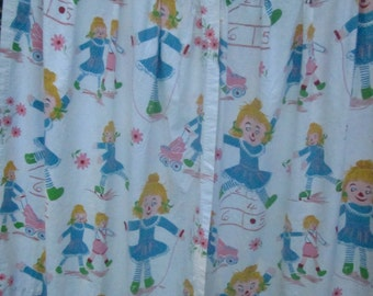 Vintage Rag Doll at Play Pinch-Pleated Drapes