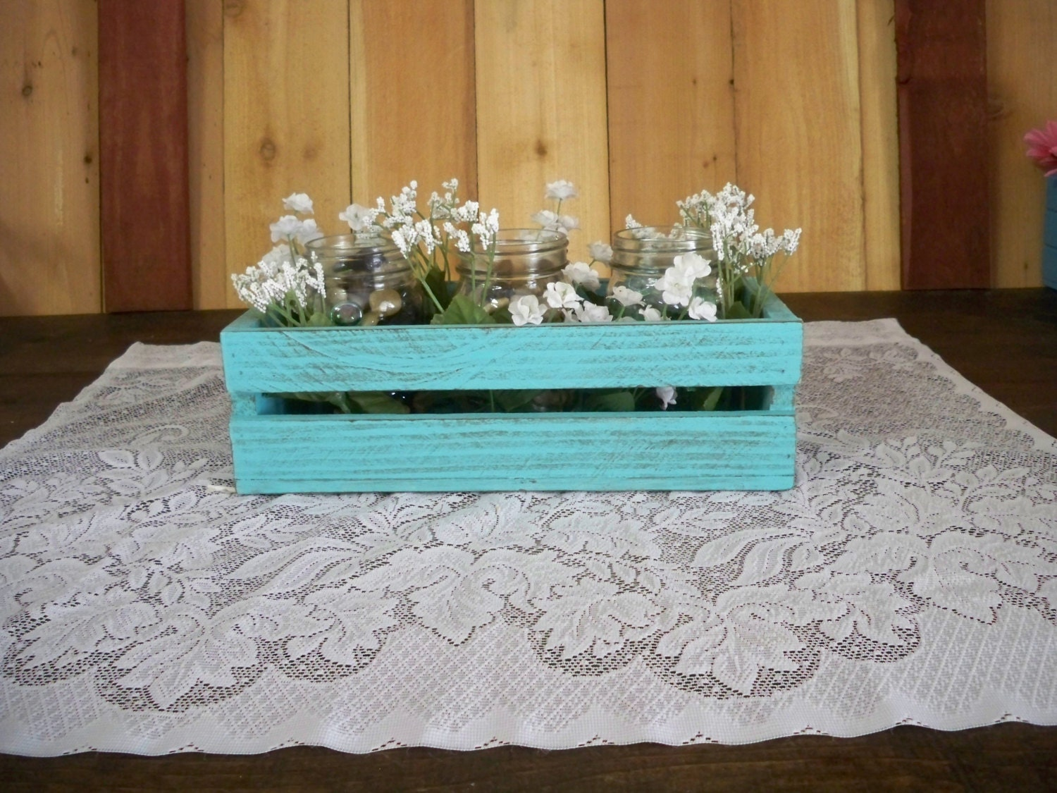 Wood crate center piece rustic centerpiece