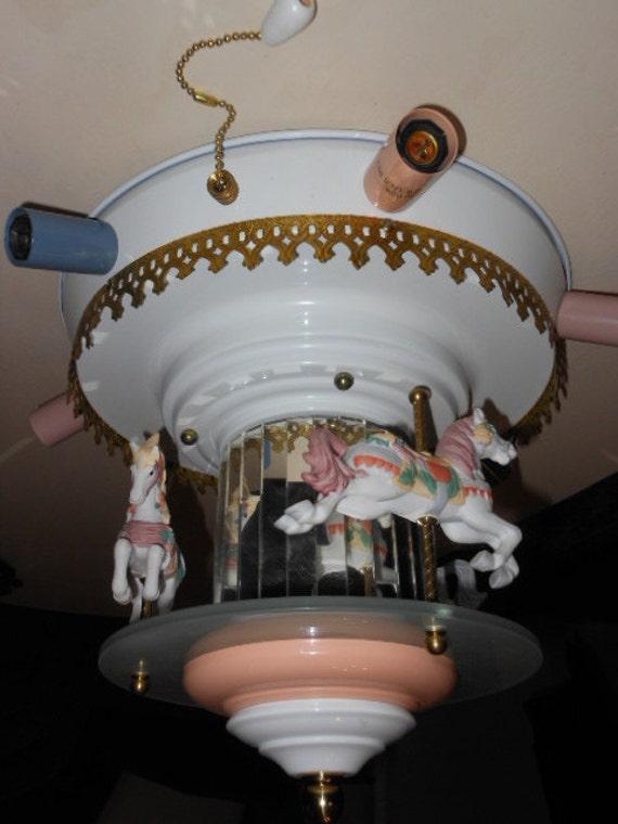 Revolving Carousel Horse Ceiling Light Lamp Mirrored By