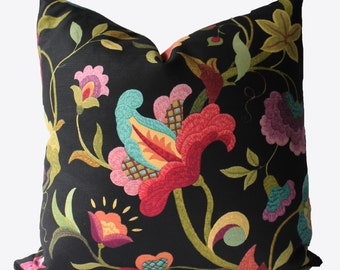 Decorative Jacobean Floral Pillow Cover, Black ,18x18, 20x20, 22x22 or Lumbar, Throw Pillow