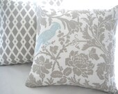 Decorative taupe  pillow cover - DOUBLE SIDED - 18 x 18 Aviary floral pillow cover -