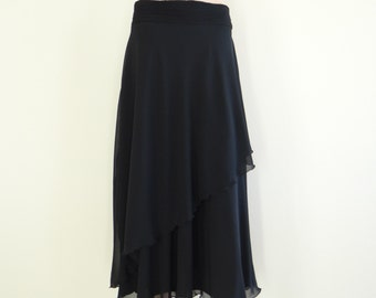 Black Maxi Skirt. Black Long Bridesmaid Skirt. Evening Skirt. Chiffon Floor Length Skirt.