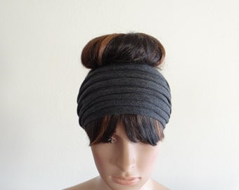 Dark Grey Wide Headband. Dark Grey Head Wrap