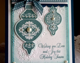 "Stampin up! Handmade card  ""Happy Holidays 2"" blue - NEW"