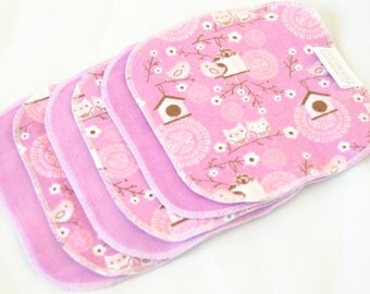 Cloth wipes - Cotton Velour or Baby terry and flannel  - Set of 5 or 6 - Baby Washclothes - Purple Birdhouses