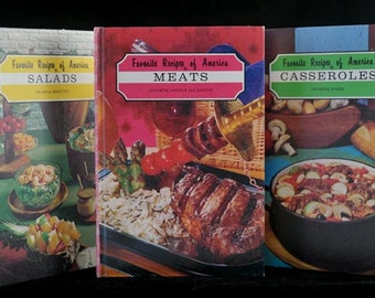 3 Favorite Recipes of America Cookbooks Vintage 1968 Salads Meats and Casseroles Instant Cook Book Collection Set of 3