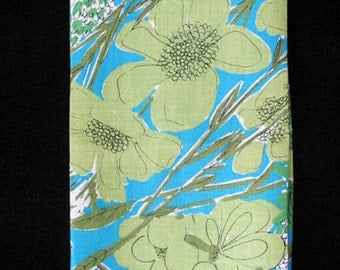 MOD WILD Turquoise and Green Linen Kitchen Dish Towel with Abstract Flowers Vintage 1960s WOW