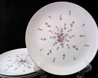 4 Harmony House Rosebud Dinner Plates with Pink and Gray Roses Vintage 1950s Set of 4