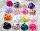 20 pcs Mixed Colors Elegant Rosette Satin Flowers 35X20mm