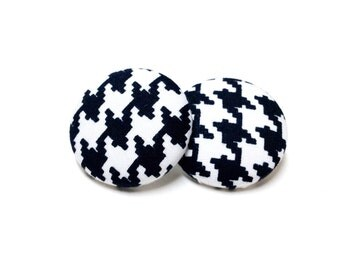 Medium Black and White Houndstooth Print Button Earrings
