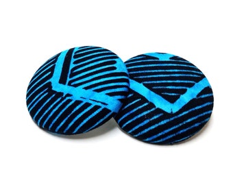 Oversized Turquoise Tribal Chevron Print Button Earrings