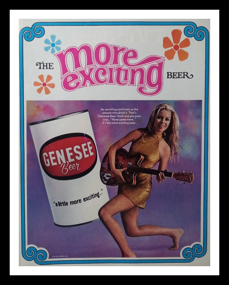 Vintage Genesee Beer Ad Wild Child Hippy Flower Power