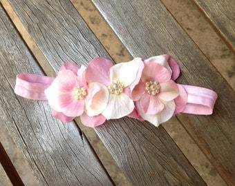 Baby Girls Pink Hydrangea Headband With Pearls to match our Flower Girl Tutu Dress - ALL COLORS