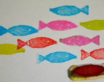 Fish-Handmade unmounted Rubber stamp