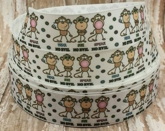 7/8 Grosgrain See No, Hear No, Speak No Evil Ribbon 1 yd