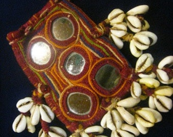 Small Vintage Embroidered and Mirrored pouch with Cowrie Shells from India