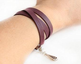 Leather wrap bracelet, maroon leather bracelet, leather bracelet, tibetan silver drop charm, boho bracelet, hippie, rocker, bohemian