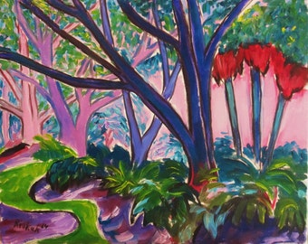 Original fauvist abstract impressionist landscape painting ~Blue Park by Rivkah Singh