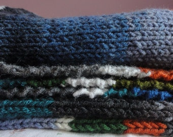 Blue and gray stripes in rows in winter tones